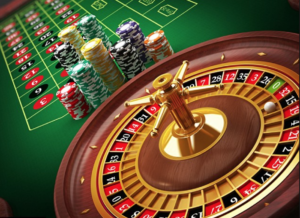 Roulette wheel table and chips